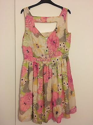 TOPSHOP Dress Up Silk Sequined Tea Dress Size 14