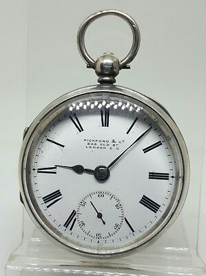 Antique solid silver gents Pickford & Co London pocket watch 1903