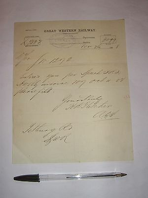 Lydney Station, Great Western Railway: letter from 1888.