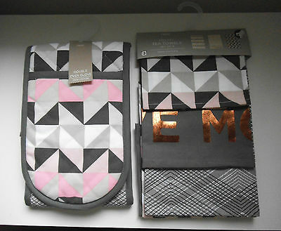Next Set Of Geo Tea Towels &  Double Oven Gloves Brand New With Tags
