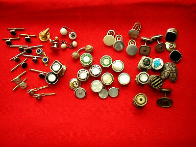 Vintage Lot Of Misc Mens Snap Links, Tuxedo Stud Buttons Most For Parts