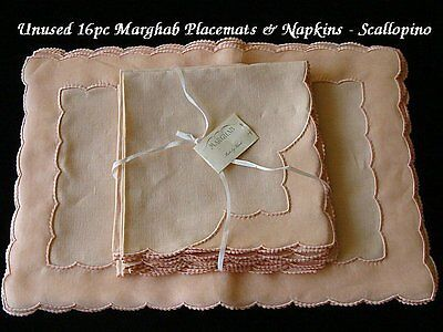GORGEOUS 16pc UNUSED Marghab Linen Organdy Placemats Scallopino Madeira Embr