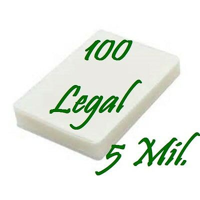100 Quality LEGAL SIZE  Laminating Pouches Sheets  9 x 14-1/2   5 Mil...