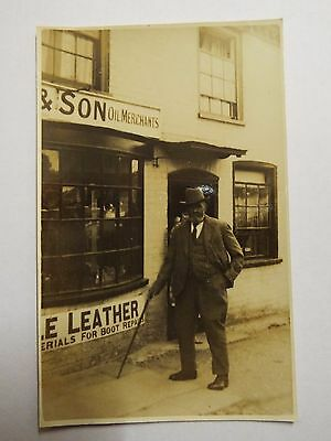 Vintage Real Photo Old Man with walking Stick outside Oil Merchants shop Newbury