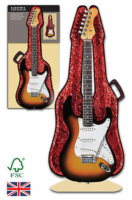 Electric Guitar 3D greeting card and case birthday, anniversary, wedding,