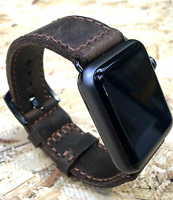 Quality Brown Leather Watch Strap Band for Apple Watch 42mm Series 1 2 Black