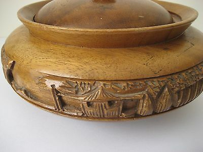 Wooden Bowl With Lid .Hand Carvings to the Bowl .Origin Far East