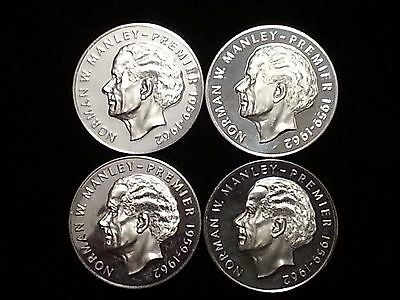 """1973 Jamaica 5 Dollar Silver Proof-like coin """"Norman W. Manley"""" - Lot of 4"""