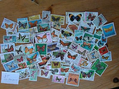 Jt-Lot 100 Different Butterfly, Global Stamps, Very Nice Stamps.jt-100 Timbres L