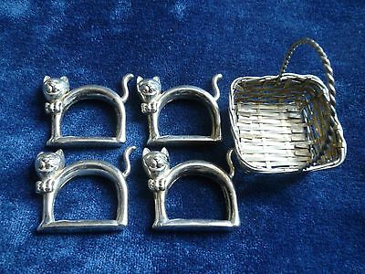Set of 4 figural silver plated cats in basket French napkin rings novelty set  .