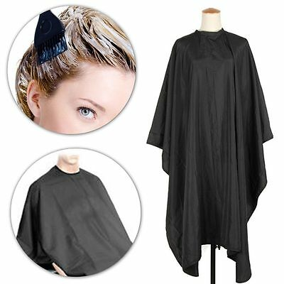 HAIRDRESSING CAPE DELUXE UNISEX ADULTS Black Barber/Salon Cutting Gown/Cover