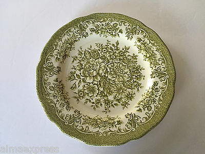 "J & G Meakin China AVONDALE GREEN Floral Scalloped - 7"" DESSERT / PIE PLATE"