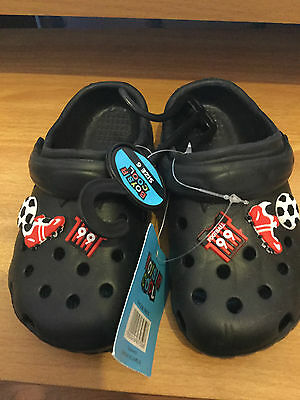 Brand New With Tags Boys Black Croc Style Size 6 Shoes