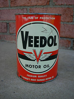 vintage Veedol steel quart motor oil can - 1940's