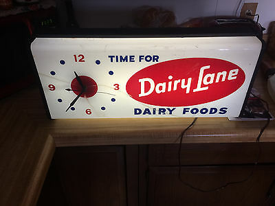 Vintage Dairy Lane,  Dairy Foods Lighted Electric Wall Clock, Advertising Works