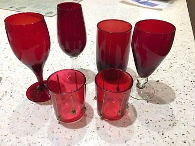 Cranberry Glass Glasses & Tea Lights Set