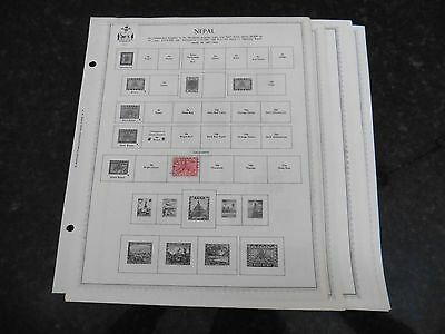 L68 lot of Nepal 10 Minkus binder Pages 1881-1953 with 4 stamps