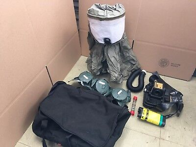 3M BREATHE EASY BUTYL RUBBER HOOD FR-57L10 PAPR RESPIRATOR w Battery and Filters
