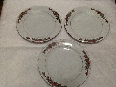 Fairfield Poinsettia And Ribbons Set of 3 Salad Or Dessert Plates 7 1/4 Inch