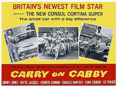 """Carry on Cabby 1963 16"""" x 12"""" Reproduction Movie Poster Photograph"""