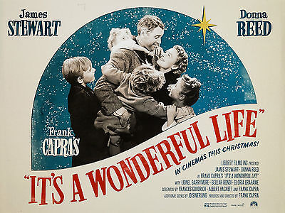 """Its a Wonderful Life 1946 16"""" x 12"""" Reproduction Movie Poster Photograph"""