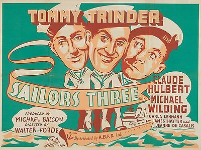 """Sailors Three 16"""" x 12"""" Reproduction Movie Poster Photograph"""
