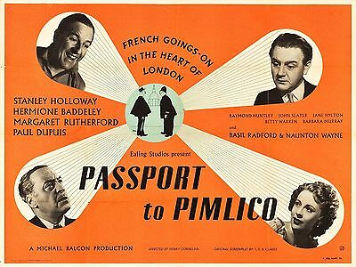 """Passport to Pimlico 16"""" x 12"""" Reproduction Movie Poster Photograph"""
