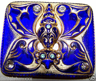 VINTAGE CZECH COBALT BLUE  glass BUTTON - BUTTERFLY/LADY with rhinstones