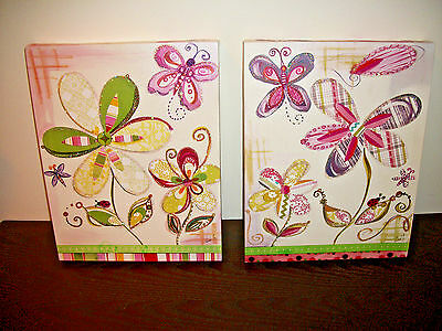 COLLEEN KARIS DESIGNS Wall Art Decor Floral Painting Canvas Lot of 2 ~ 14 x 11