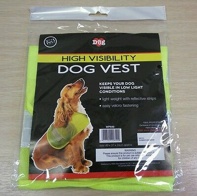 HIGH VISIBILITY DOG VEST Light Weight REFLECTIVE straps Velcro fasten One Size