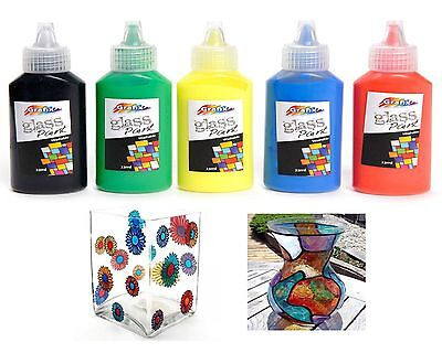 GLASS PAINTS VIBRANT FAST DRYING ART & CRAFT KIDS HOBBY GIFT DECORATION 5 Pack