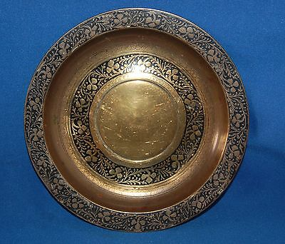 "Heavy brass cloisonne 6.5"" (16.5cm) floral decorated enamelled plate"