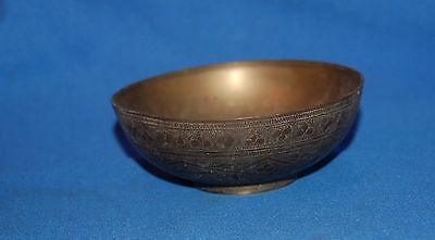 "vintage Indian brass etched 4.5"" (11.5cm) bowl/dish"