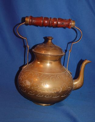 Vintage etched Indian brass large kettle with collapsible handle