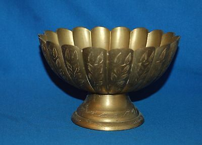 Vintage etched Indian Brass pedestal flower shaped bonbon/sweet dish