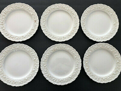 "Wedgwood China ROSE Cream Embossed Roses / Daisies - 8-1/4"" SALAD PLATE"