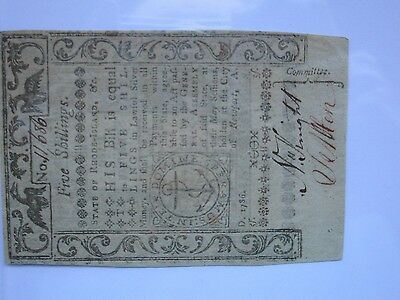 Rhode Island Colonial Note 1786 5 shil PMG 58 CH About UNC