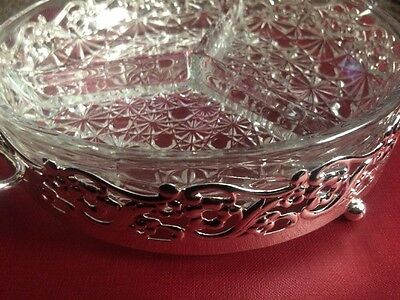 3 Compartment Hors d'oeuvres dish chrome base and glass dish