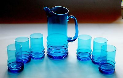 Stunning Kingfisher Blue crystal glass pitcher and 6 glasses
