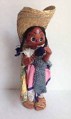 Vintage Antique Handmade Paper Mache Painted South America Mexican Girl w/Baby