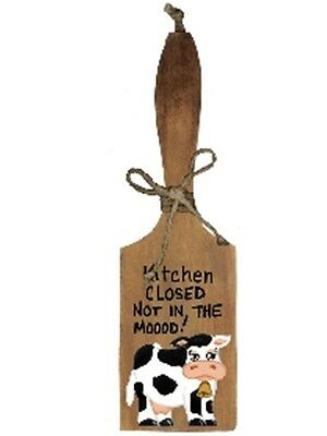 Decorative Rustic Butter Paddle Cow KITCHEN CLOSED NOT MOOD kitchen Decor Sign
