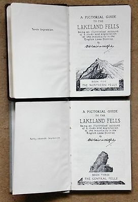 Two vintage Alfred Wainwright Lakeland Fells books: Central and Northern,3 and 5