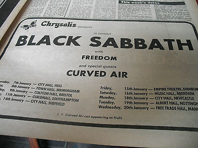 Black Sabbath Gig Advert From 1970  1/2 Page  Freedom, Curved Air
