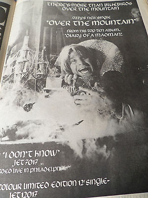 """OZZY OSBOURNE """"OVER THE MOUNTAIN""""  advert from 1981 full page"""