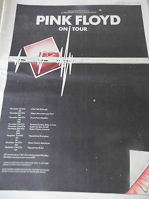 """Pink Floyd  """"dark Side Of The Moon Tour"""" A3 Size Advert From 1974"""
