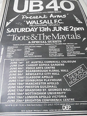 "Ub 40 Walsall F.c. ""present Arms"" Gig Advert From 1982 Toots & The Maytals"