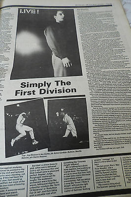 """JOY DIVISION """"GIG REVIEW"""" simply the first division  1980 COMES ON A FULL PAGE"""