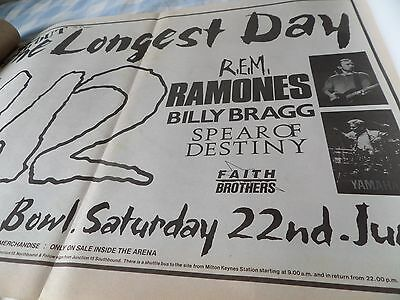 """U2 From 1985 """"the Longest  Day"""" The Ramones Milton Keynes Gig Advert Double Page"""