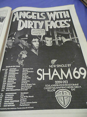 "Sham 69 ""angels With Dirty Faces""  Album & Tour Advert From 1978  A3"