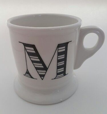 Anthropologie Large White Coffee Mug Cup Black Letter M Initial Monogram